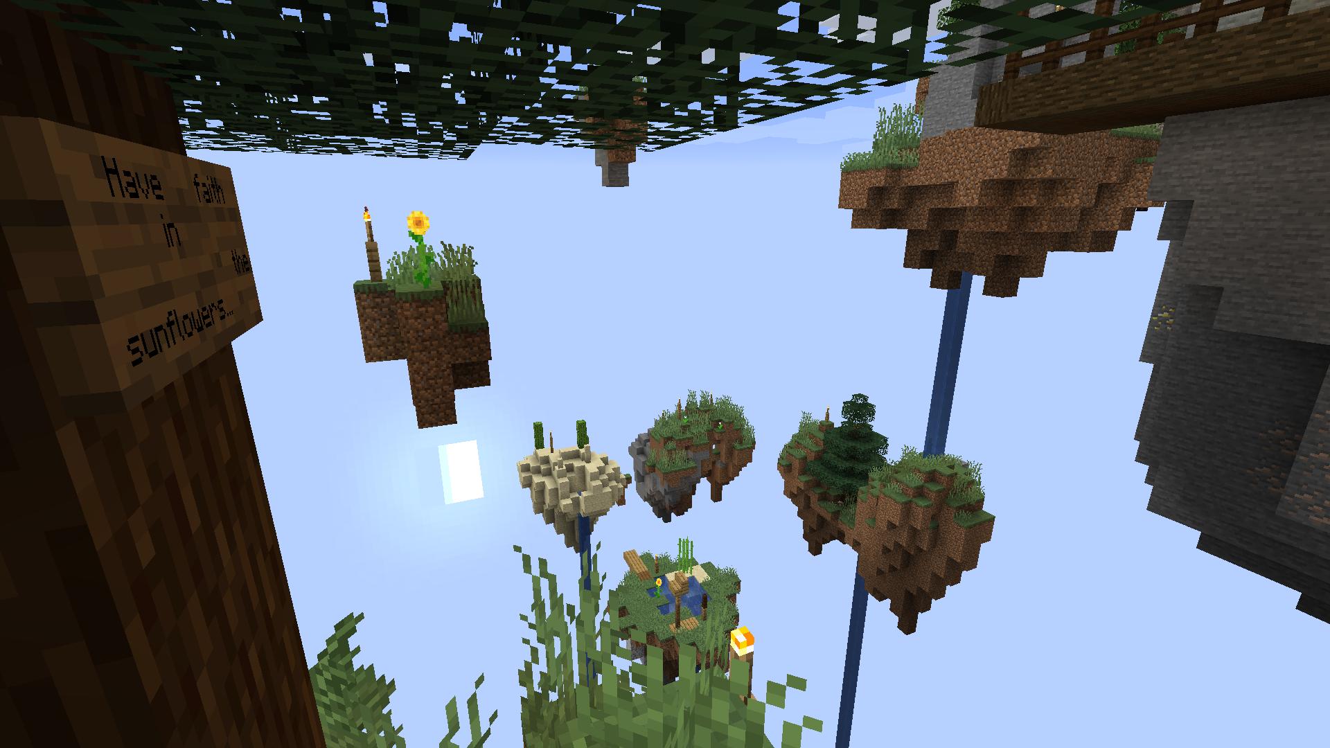 Quelques îles volantes, thème principal de la map.