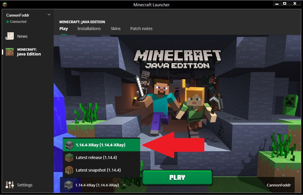 Installer mod Xray Minecraft launcher