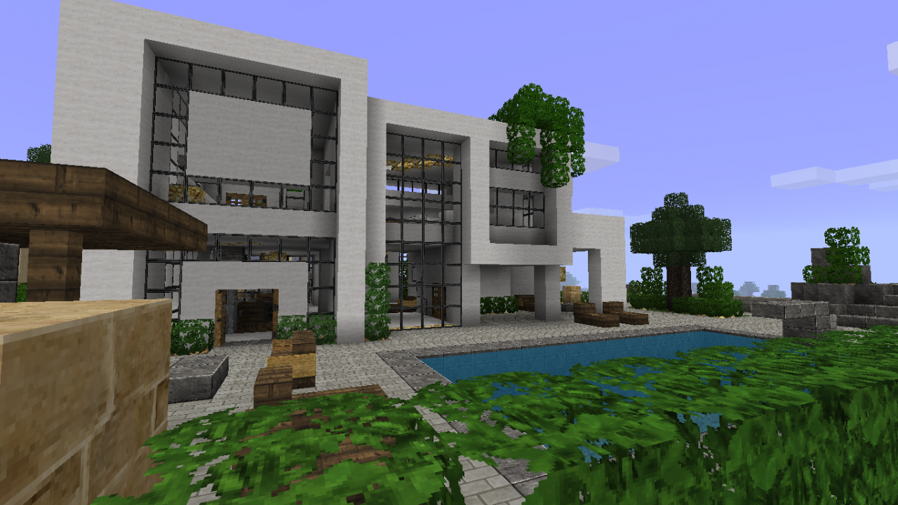 Minecraft la d co et vous 1 7 3 for Plan maison minecraft moderne