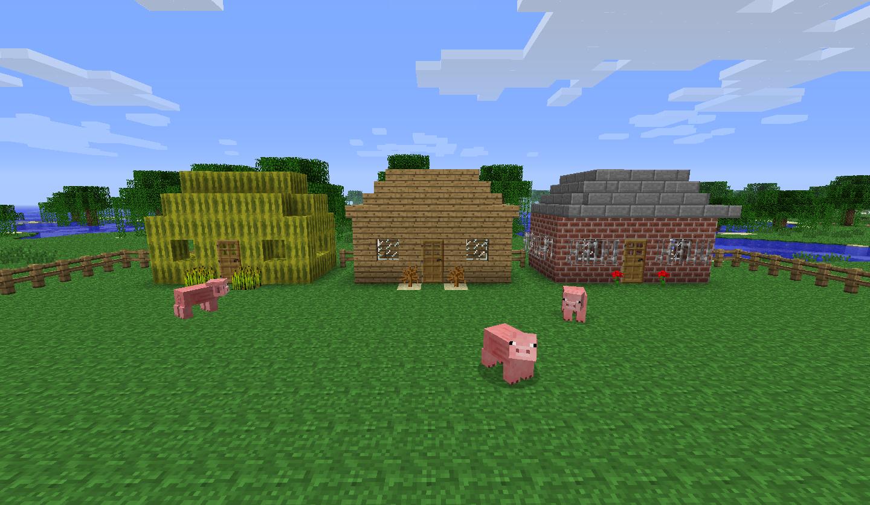 Les 3 petits cochons - Minecraft cochon ...