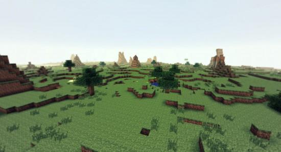 Des paysages désert avec des ''pics'' de roche et de terre.