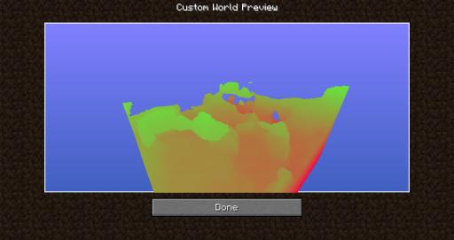 Voici le menu qui s'ouvre quand vous cliquez sur ''Preview'', il permet de voir à quoi va ressembler votre monde si vous le générer avec les paramètres choisis.
