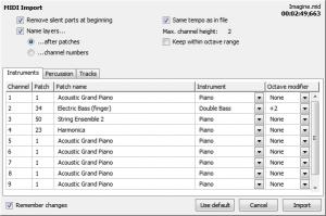 L'importation d'un fichier MIDI