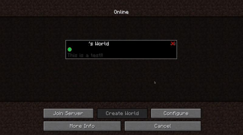 L'interface de connexion a un monde Realms