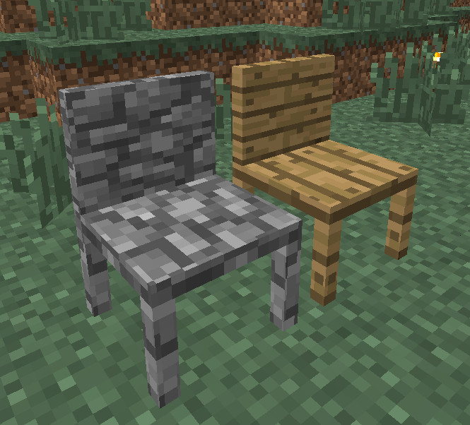 MrCrayfish's Furniture Mod chaise en bois et pierre