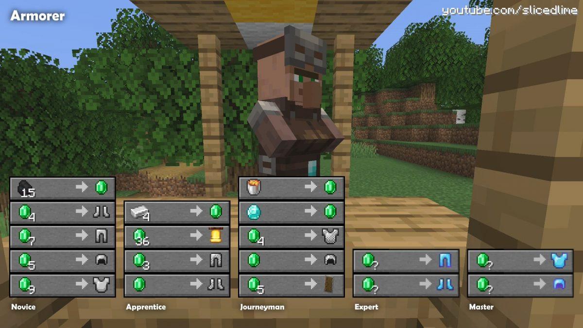 Commerce échange villageois minecraft armurier