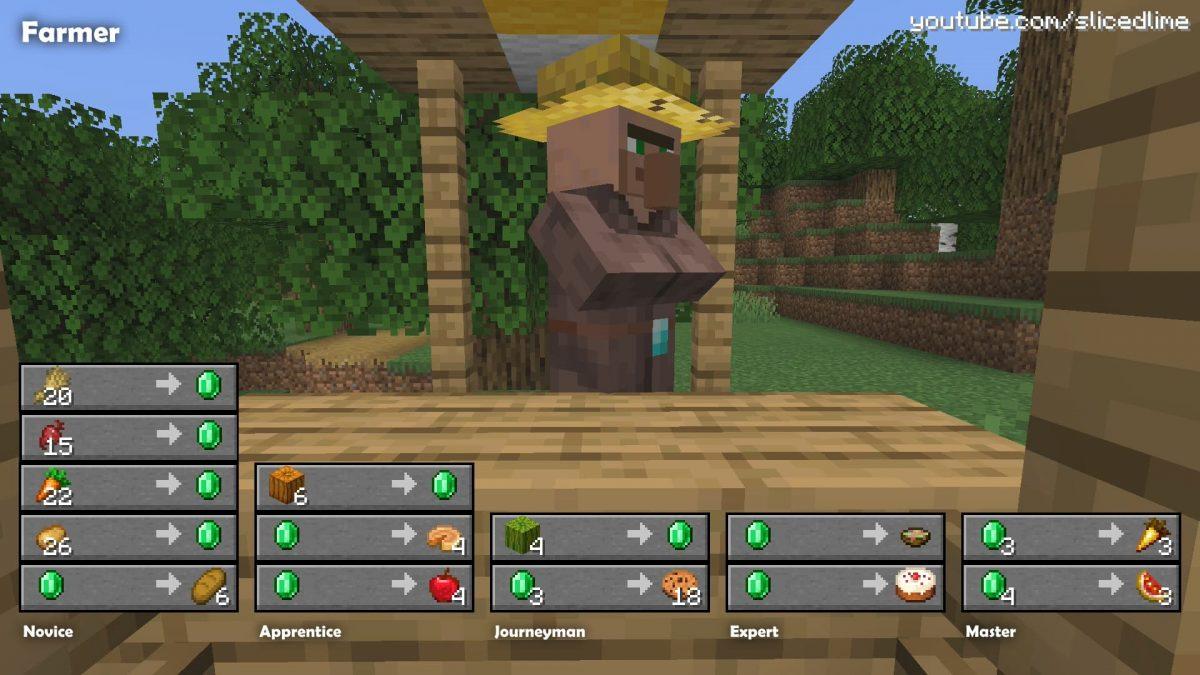 Commerce échange villageois minecraft fermier