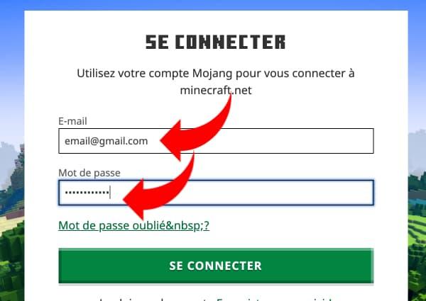 Changer de pseudo Minecraft : renseignez vos identifiants minecraft / mojang