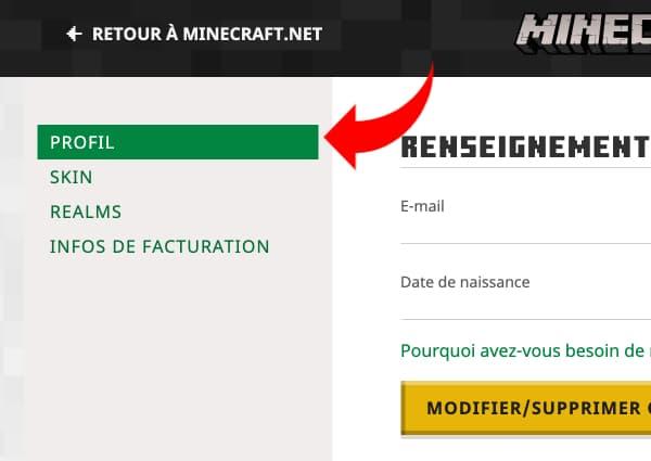 Changer de pseudo Minecraft : allez dans la section profil