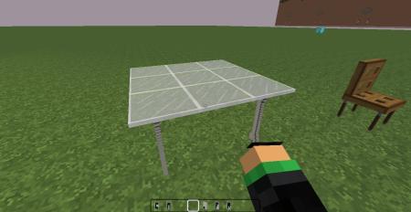 Une table en verre