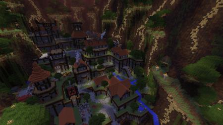 Un village dans Ragecraft. Déserté par ses habitants, mais pas dénué de présence. Oh non !