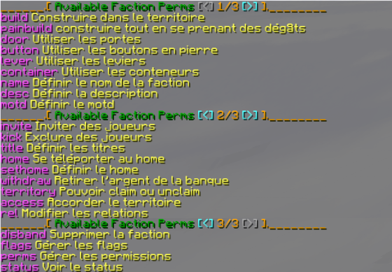 Liste des permissions de Factions