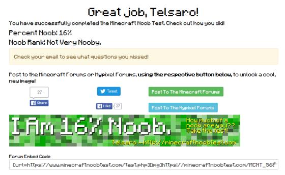 Vous pouvez constater que je suis à 16% noob, ce qui est plutot correct selon le site.