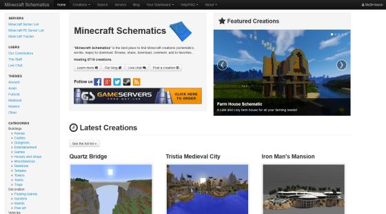 page d'accueil minecraft scheamtics