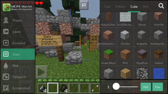 interface item mcpe master
