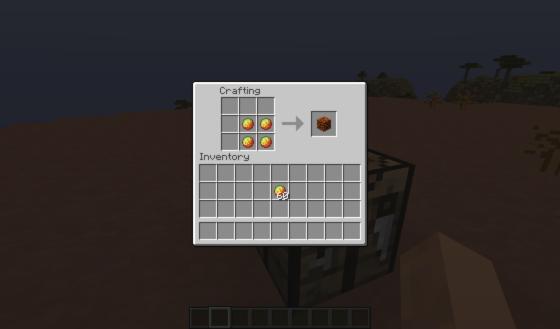 Le craft des blocs de Magma.