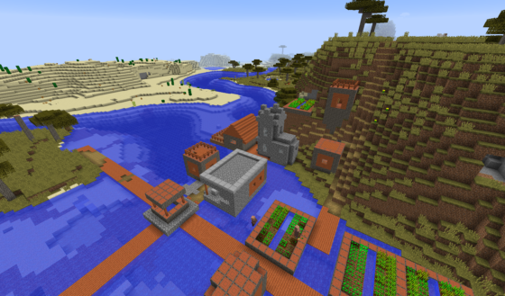 Un village dans une savane, près de l'eau.