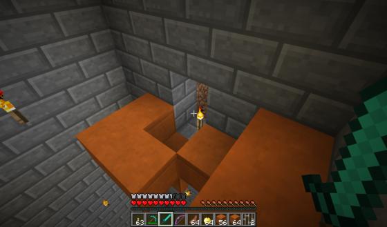 L'entrée de la première pièce ! (Les bloc orange viennent de moi).