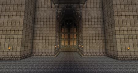 Les portes vues de l'intérieur, intérieur qui est malgré tout assez vide.