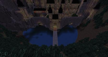 Le pont qui nous mèneras au château, entouré par des chauve-souris.
