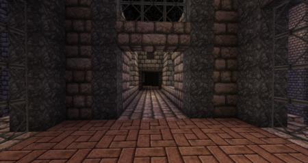 Un couloir qui mène à une annexe.