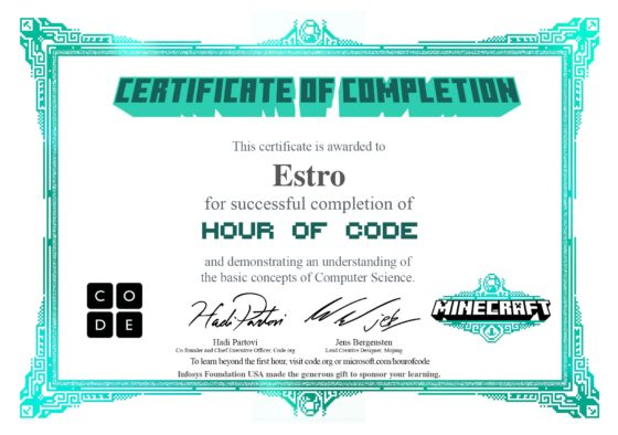 certificat jeu de programmation minecraft