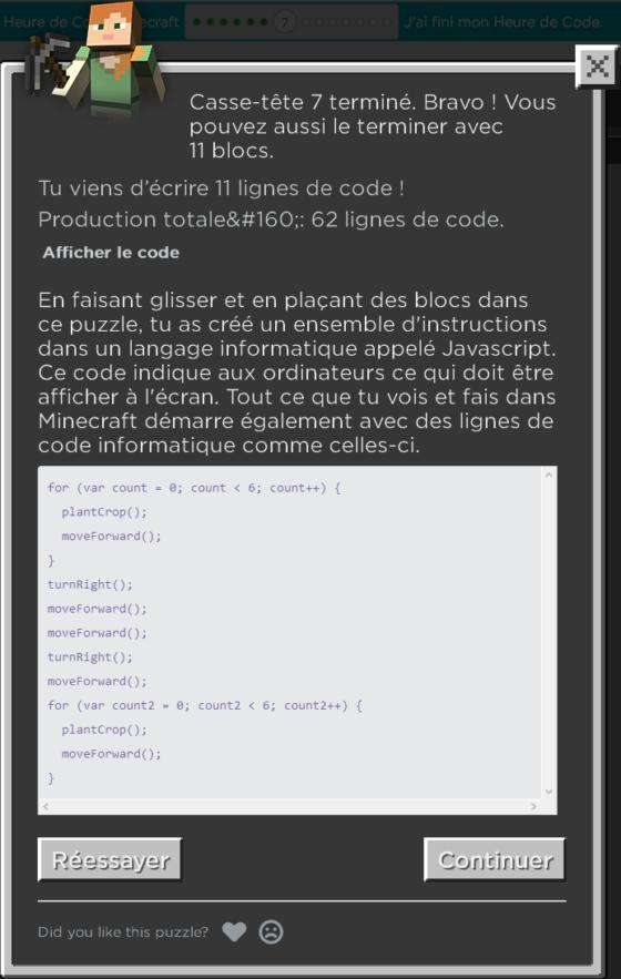 javascript code minecraft programmation