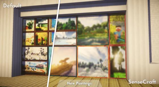 SenseCraft : Comparaison avec les textures par défaut du menu
