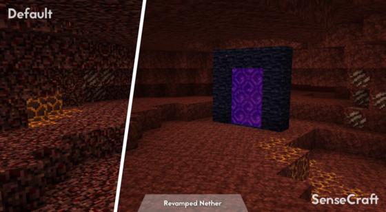 SenseCraft : Comparaison avec les textures par défaut du Nether