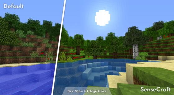SenseCraft : Comparaison avec les textures par défaut d'un rivière