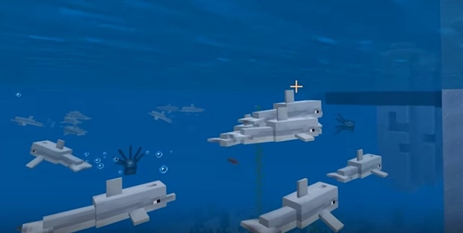Des dauphins nageant - Bedrock Edition, mise à jour beta 1.12.20.1