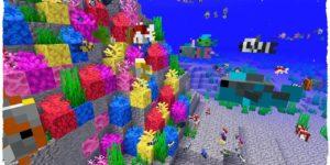 Des coral fans et poissons tropicaux - Minecraft snapshot 1.13