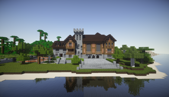 manoir pelès dans Minecraft vue de devant
