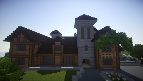 manoir pelès dans Minecraft vue de derriere