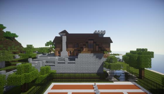 manoir pelès dans Minecraft vue de droite