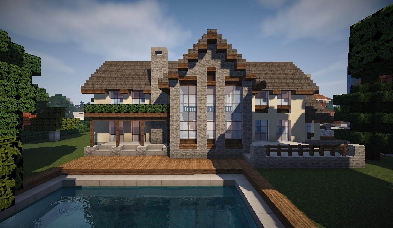 photo minecraft grande maison traditionnelle arriere