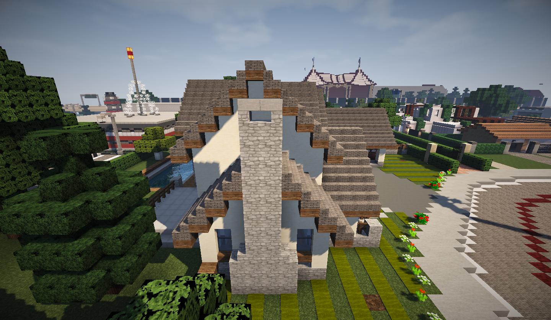 photo minecraft grande maison traditionnelle gauche