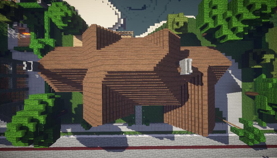 photo minecraft maison style tudor dessus