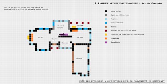 plan minecraft grande maison traditionnelle rez de chaussée