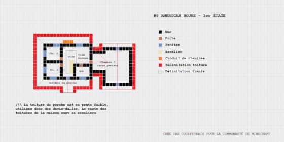 plan minecraft maison américaine niveau 1