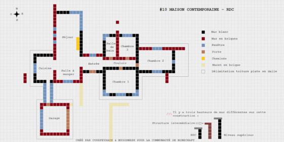 plan minecraft maison contemporaine rez de chaussée