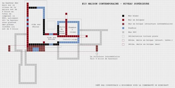 plan minecraft maison contemporaine niveau supérieur