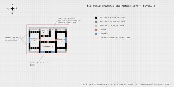 plan minecraft maison française année 1970 niveau 3