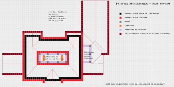 plan minecraft maison style néoclassique toiture