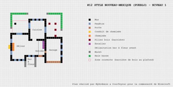 plan minecraft maison nouveau mexique pueblo niveau 1