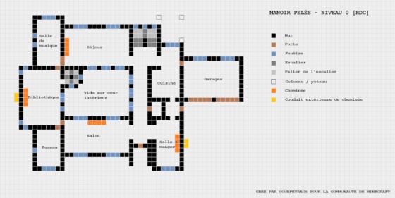 plan minecraft manoir pelès niveau 0
