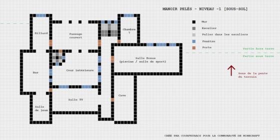 plan minecraft manoir pelès niveau moins 1