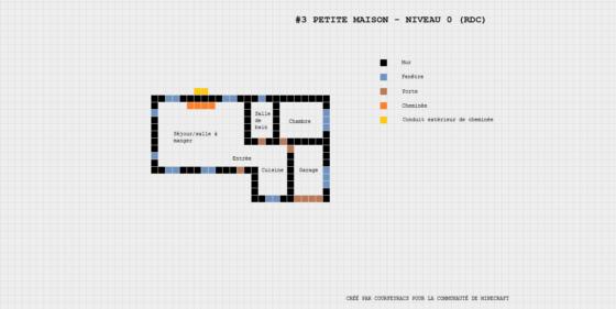 plan minecraft petite maison niveau 0