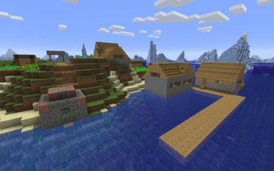 seed village de pêcheur et iceberg minecraft 1.13