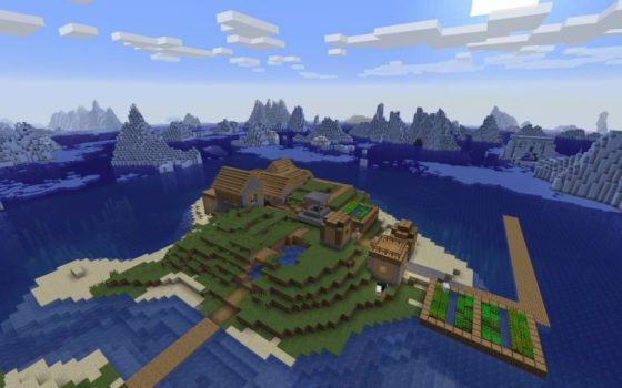 seed graine village de pêcheur et monument sous marin minecraft 1.13